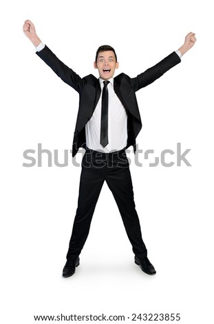 Isolated young business man winner - stock photo
