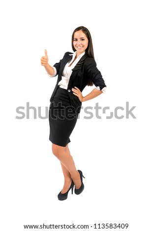 Isolated young business woman approval - stock photo