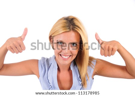 Isolated Young Business Woman Approve - stock photo