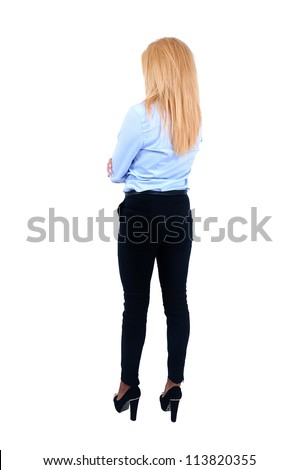 Isolated young business woman back view