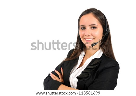 Isolated young business woman customer - stock photo