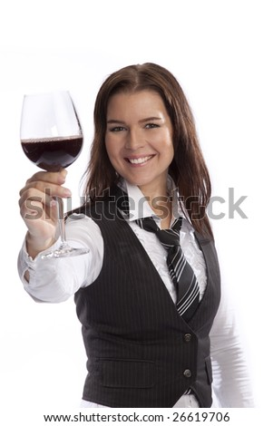 isolated young business woman drinking wine over white background - stock photo