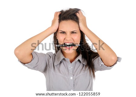 Isolated young business woman furious - stock photo