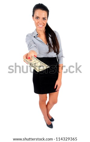 Isolated young business woman giving money - stock photo
