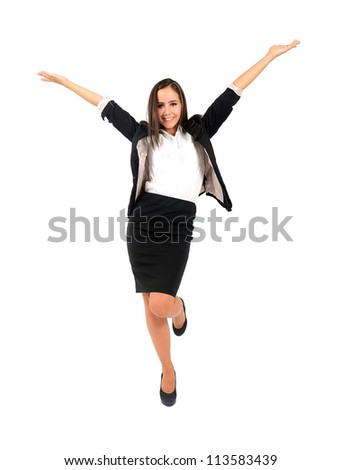 Isolated young business woman happy - stock photo