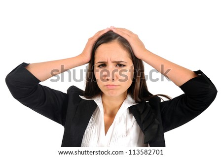 Isolated young business woman headache - stock photo