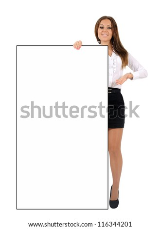 Isolated young business woman holding - stock photo