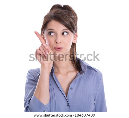 Isolated young business woman is presenting with her finger. - stock photo