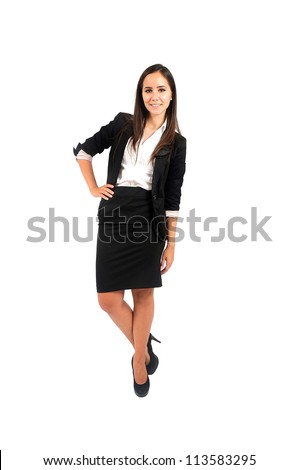 Isolated young business woman leaning - stock photo