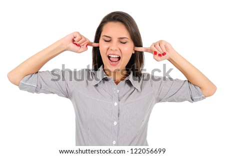 Isolated young business woman not listening - stock photo