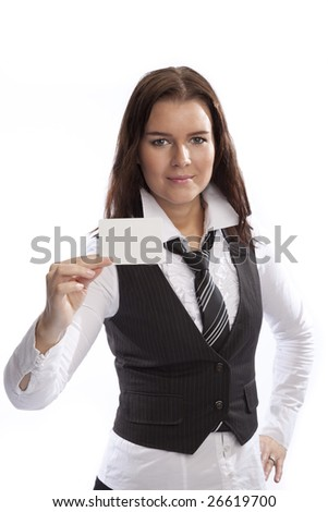 isolated young business woman over white background