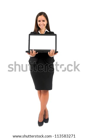 Isolated young business woman presenting laptop - stock photo