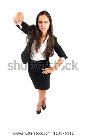 Isolated young business woman reject