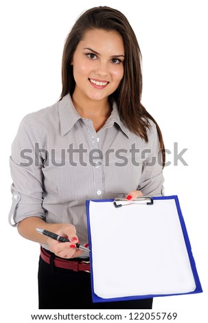 Isolated young business woman show clipboard - stock photo