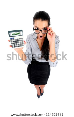 Isolated young business woman showing calculator - stock photo