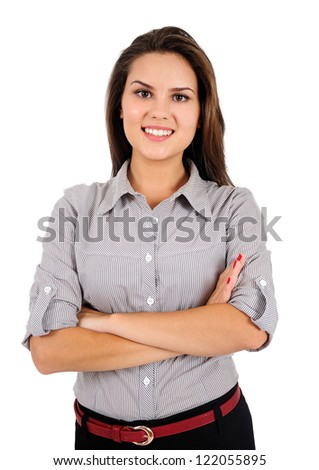 Isolated young business woman standing - stock photo