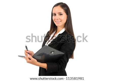 Isolated young business woman standing with agenda - stock photo