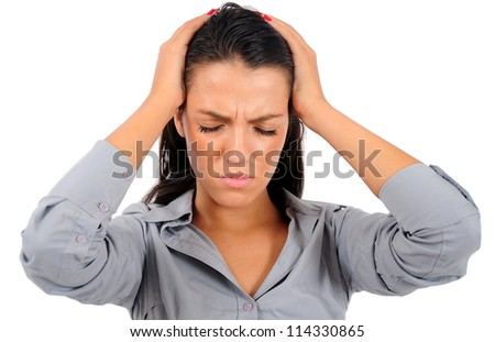 Isolated young business woman stressed - stock photo