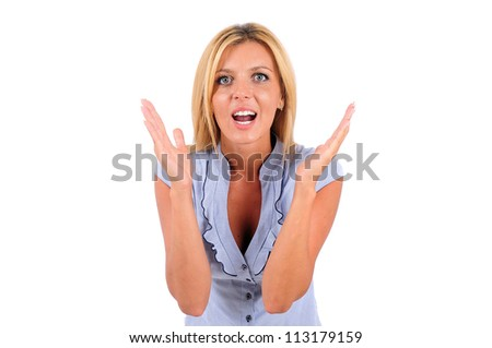 Isolated Young Business Woman Surprised - stock photo