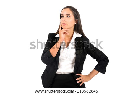 Isolated young business woman thinking - stock photo