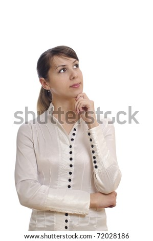 isolated young  business woman thinking and looking somewhere - stock photo