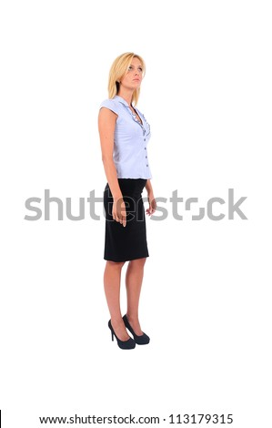 Isolated Young Business Woman Waiting - stock photo