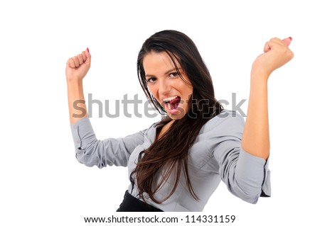 Isolated young business woman winning - stock photo