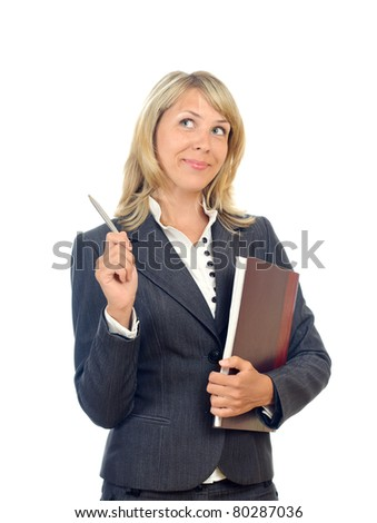 isolated young business woman with a pen and notebook - stock photo