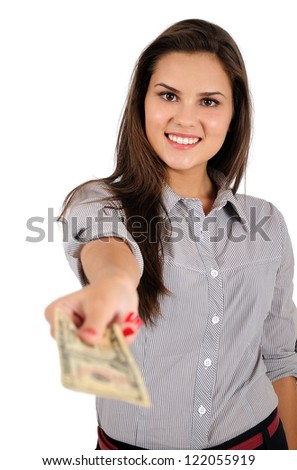 Isolated young business woman with money - stock photo