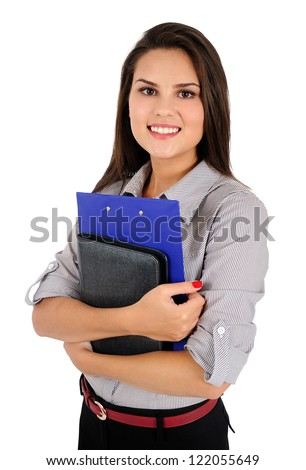 Isolated young business woman with notebook - stock photo