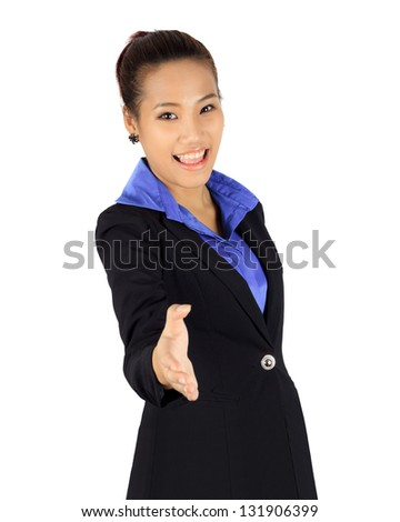 Isolated young business woman with shake hands posing on white - stock photo