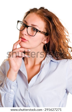 Isolated young business woman wondering. - stock photo