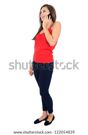 Isolated young casual girl speaking phone - stock photo