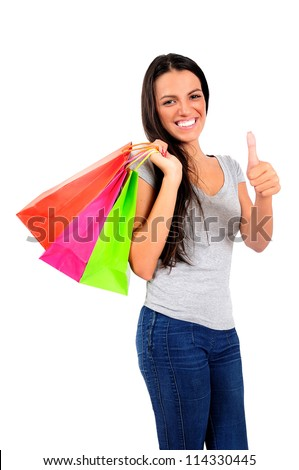 Isolated young casual woman approval - stock photo