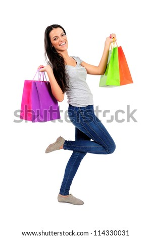 Isolated young casual woman excited - stock photo