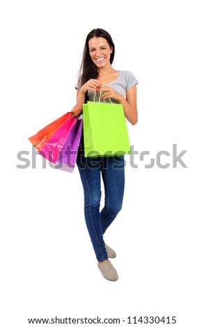 Isolated young casual woman excitement - stock photo
