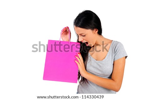 Isolated young casual woman wonder - stock photo