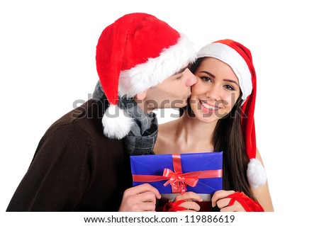 Isolated Young Christmas Couple Holding Envelope
