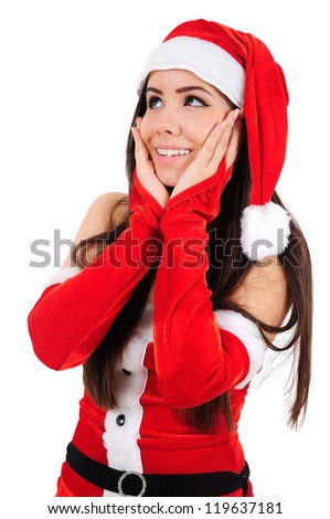 Isolated Young Christmas Girl Amazed