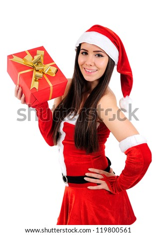 Isolated Young Christmas Girl Enjoyment
