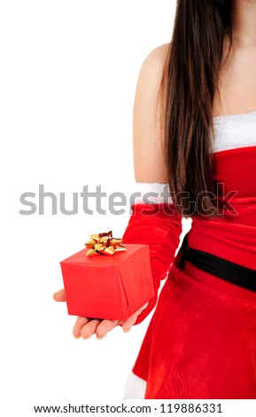 Isolated Young Christmas Girl Holding Gift