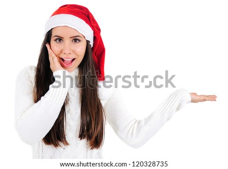 Isolated Young Christmas Girl Holding Palm - stock photo