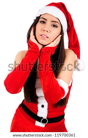 Isolated Young Christmas Girl Posing