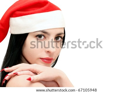 Isolated young christmas woman - stock photo