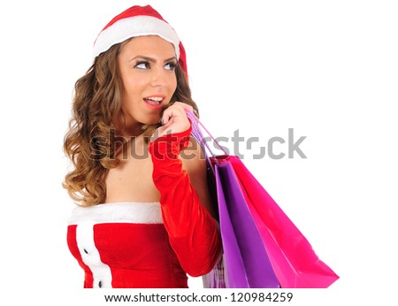 Isolated young christmas woman with shopping bag