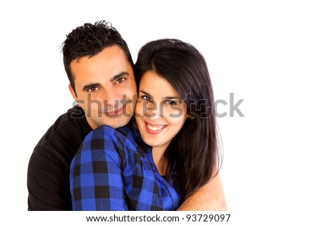 Isolated young couple hugging - stock photo