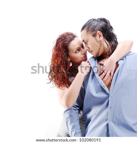 Isolated young couple on white background