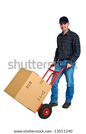 Isolated young delivery man with his hand truck 14