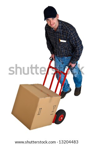 Isolated young delivery man with his hand truck 15