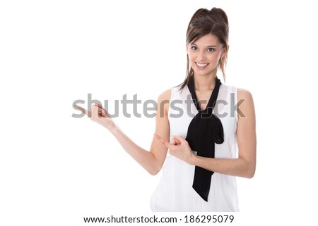 Isolated young elegant woman presenting with her fingers. - stock photo